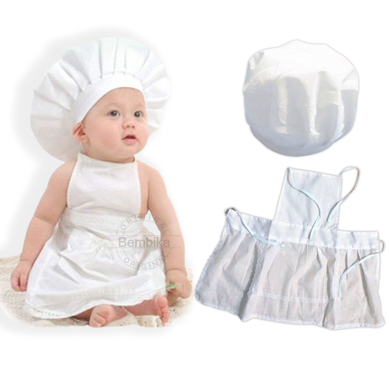 Baby Photo Prop Set Fashion Chef Hat Apron Baby Photo Costume